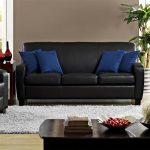 Dorel Living Marina Black Faux Leather Sofa FH3350-SF