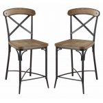 The Olympia two-tone counter height stools feature a solid metal and wood constr...