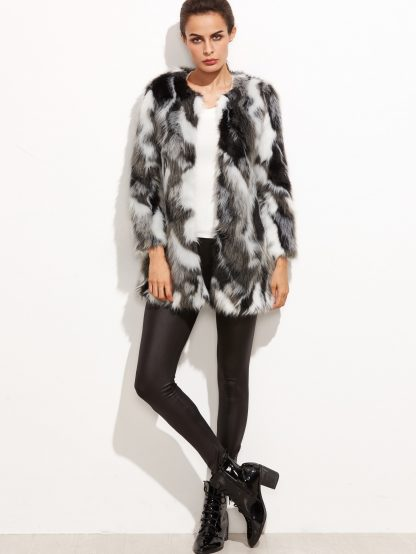 Faux Fur Open Front Fuzzy Coat