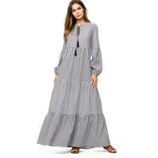 Plaid Contrast Striped Longline Dress