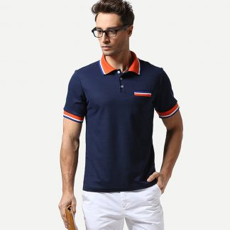Men Contrast Striped Polo Shirt