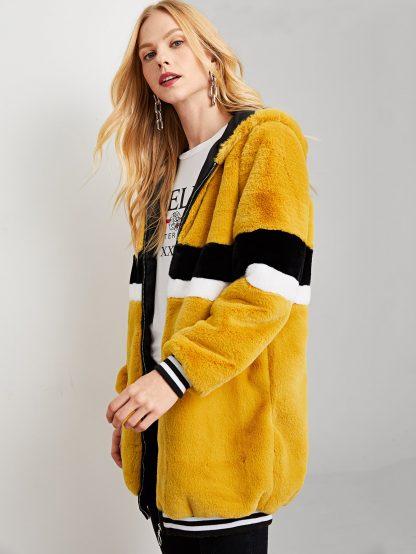 Zip Up Striped Teddy Coat