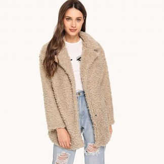 Notched Neck Teddy Coat