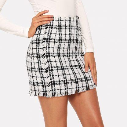 Frayed Trim Plaid Tweed Skirt
