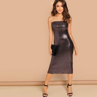 Bandeau Sequin Midi Dress