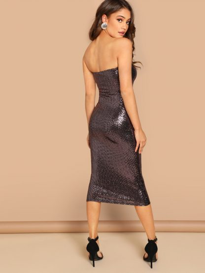 Bandeau Sequin Midi Dress