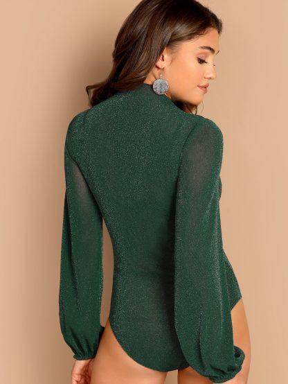 Mock-neck Glitter Sheer Bodysuit