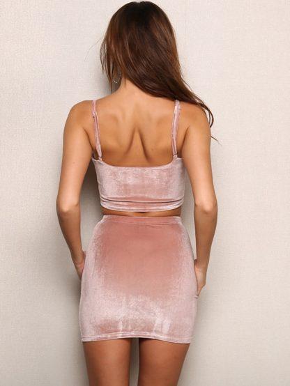 Joyfunear Crop Cami Velvet Top and Bodycon Skirt Set