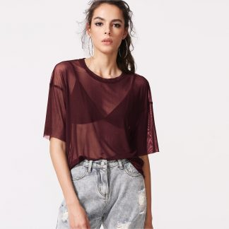 Sheer Mesh Boxy Top