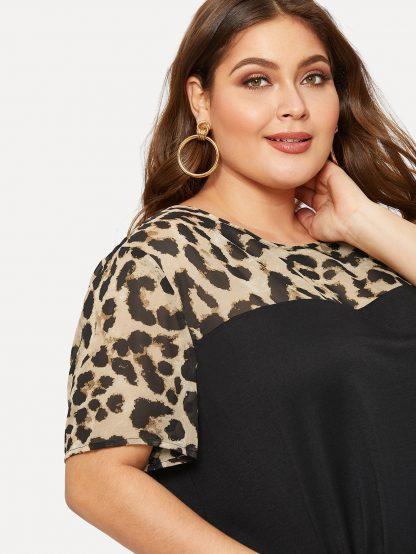 Plus Leopard Yoke Cut-and-sew Curved Hem T-shirt