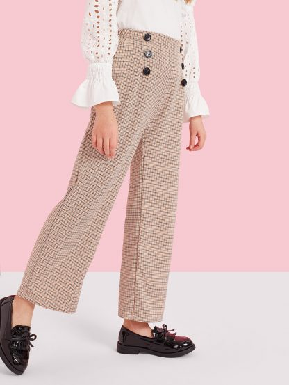 Girls Double Breasted Houndstooth Wide Leg Pants