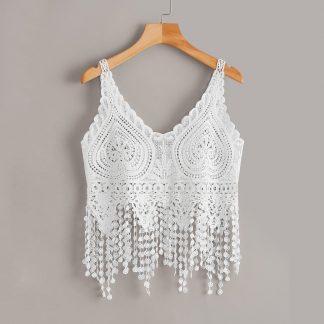 Crochet Sheer Fringe Hem Top
