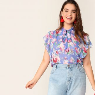 Plus Tie Neck Ruffle Armhole Floral Top