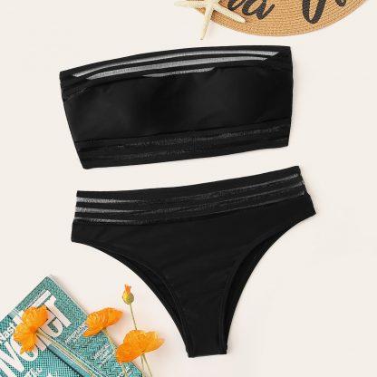 Mesh Panel Bandeau Bikini Set