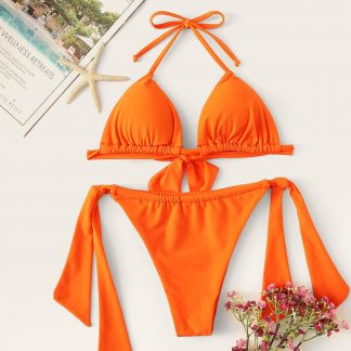 Triangle Top With Tie Side Bikini Set
