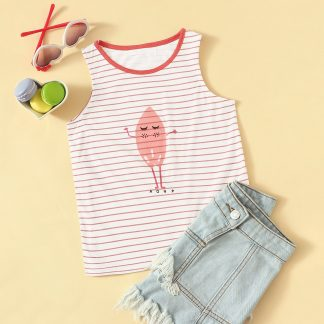 Toddler Girls Cartoon & Striped Tank Top