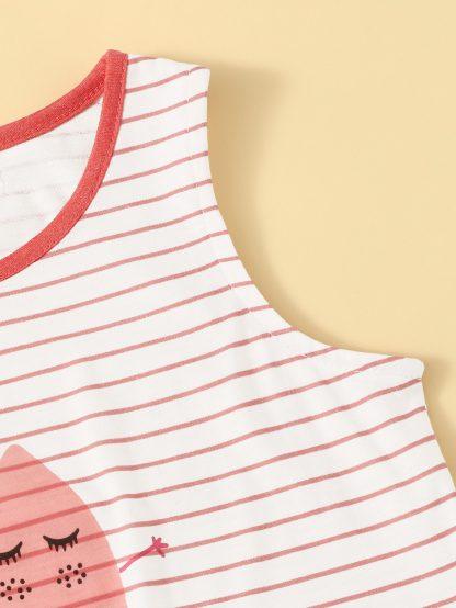 Toddler Girls Cartoon & Striped Tank Top
