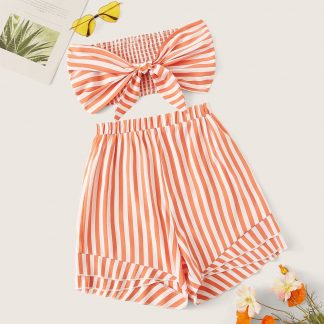 Shirred Back Tie Front Bandeau Top & Striped Shorts Set