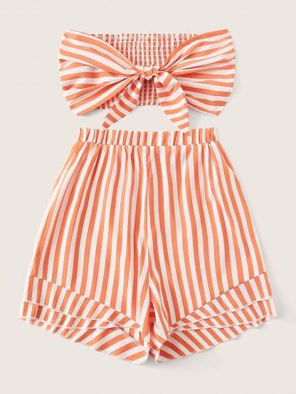 Shirred Back Tie Front Bandeau Top & Striped Shorts Set