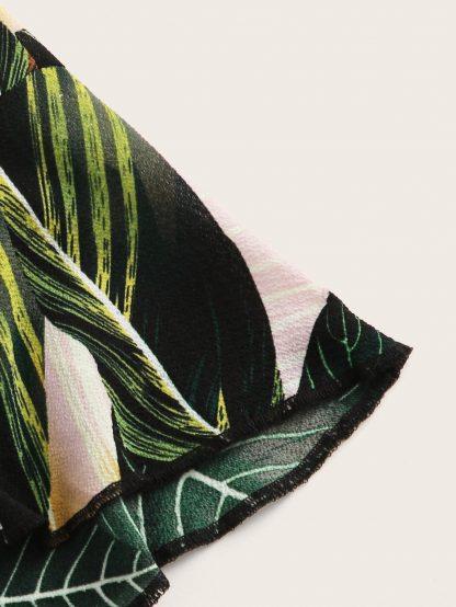Plants Print Drawstring Waist Halter Romper