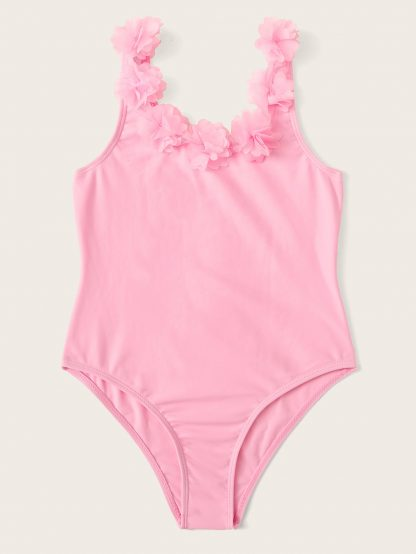 Girls Flower Applique One Piece Swimsuit