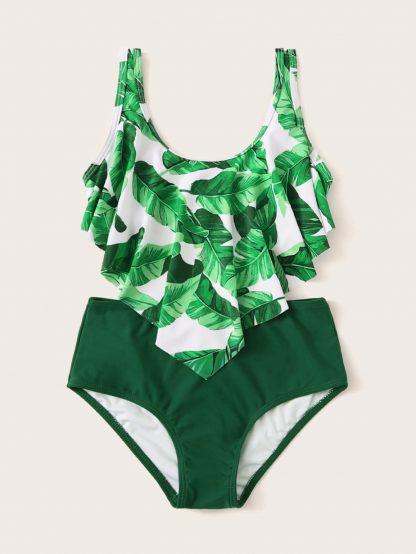 Girls Random Leaf Print Hanky Hem Bikini Set