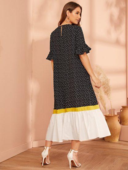 Confetti Heart Print Ruffle Cuff Colorblock Dress