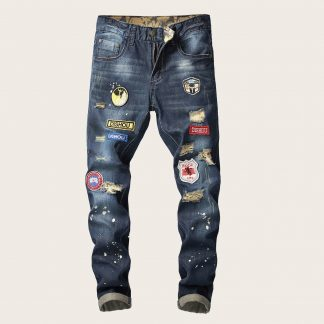 Men Paint Splatter Patched Jeans