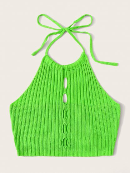 Neon Green Cut-out Tie Back Halter Knit Top