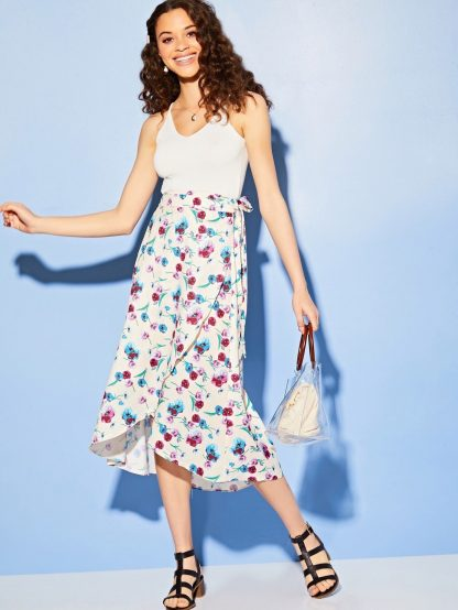 Floral Print Tie Side Wrap Skirt