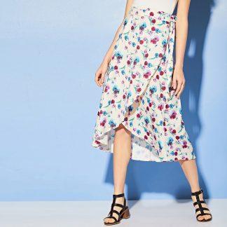 Floral Print Tie Side Wrap Skirt