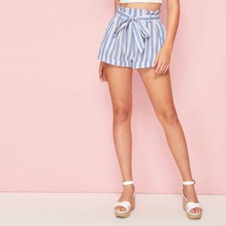 Paperbag Waist Rolled Up Hem Striped Shorts