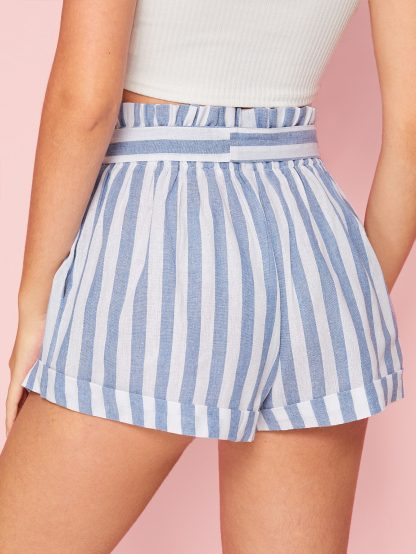 Paperbag Waist Rolled Up Hem Striped Shorts