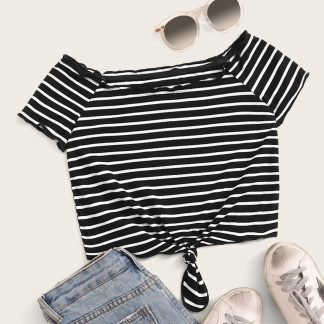 Lettuce Trim Rib-knit Striped Bardot Crop Top