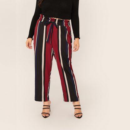 Plus Drawstring Paperbag Waist Striped Pants