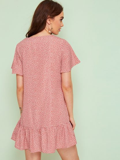 Confetti Print Button Front Ruffle Hem Dress