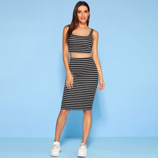 Striped Tank Top & Pencil Skirt Set