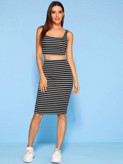 Striped Tank Top & Pencil Skirt Set