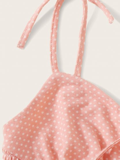 Self Tie Shoulder Shirred Polka Dot Bustier Top