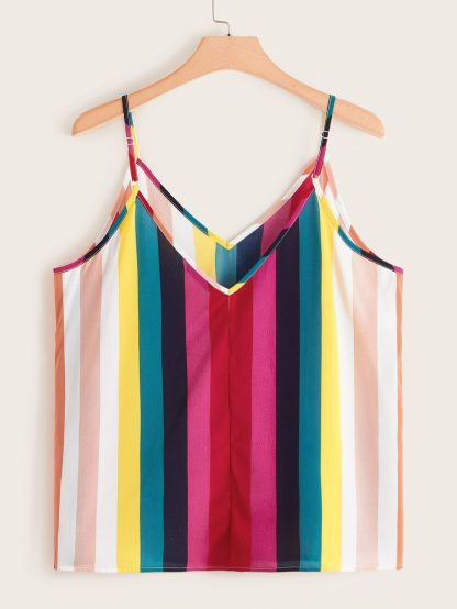 Plus Rainbow Striped Print Cami Top