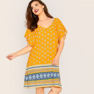 Plus Batwing Sleeve Tribal Print Dress