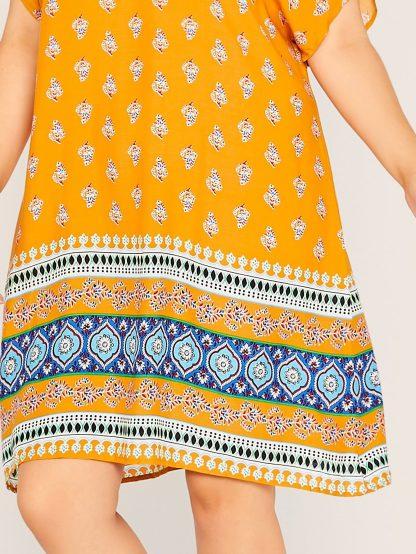 Plus Batwing Sleeve Tribal Print Dress